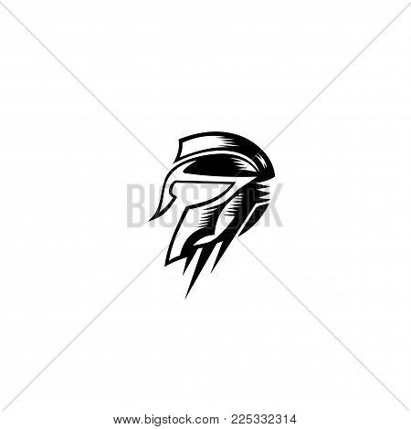 Spartan Gladiator helmet Logo Template on white background vector illustration design.