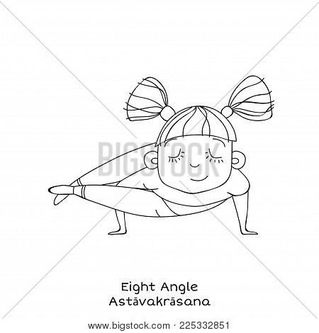 Cute little girl is practicing yoga. Kid in Eight angle pose. Cartoon Vector illustration. yoga for kids