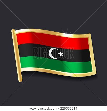 flag of  Libya in the form of badge, flat image