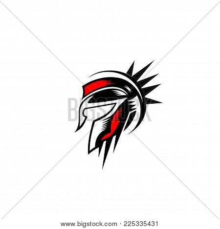 spartan red and black helmet logo design on white background vector illustration.