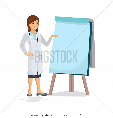Female doctor on presentation. Doctor with clipboard giving medical presentation on white background.