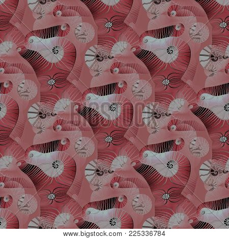 Abstract geometric seamless background. Regular intricate spirals pattern pink, pastel red and brown shades, ornate and dreamy.