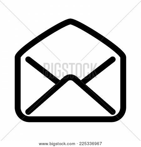 Open mail envelope icon. Symbol of read e-mail communication or post office. Outline modern design element. Simple black flat vector sign with rounded corners.