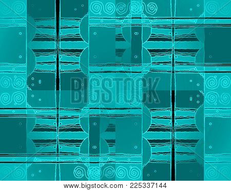 Abstract geometric background. Intricate spirals pattern with wavy lines turquoise, gray and black shifted, drawing.