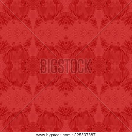 Abstract geometric seamless background single color. Regular ornate ellipses and diamond pattern in red shades.