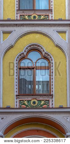 ORADEA, ROMANIA - JANUARY 27, 2018: Detail from Hotel Astoria (former Sztarill Palace) located in Ferdinand Square, Oradea, Romania, build in 1902 with plans from architect Ferenc Sztarill.