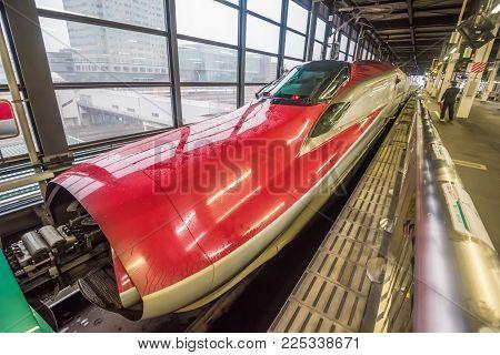 Sendai,japan - October 23,2017 :  The Connection Between The Green Shinkansen  Bullet Train Series E