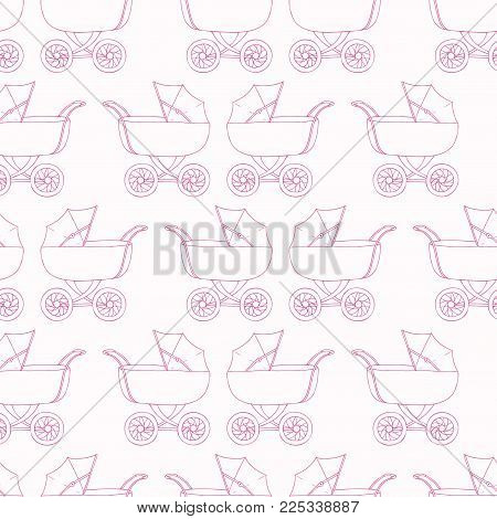 Seamless pattern background baby carriage for doughter. Baby girl wallpaper. Pink textile. Buggy vector illustration.