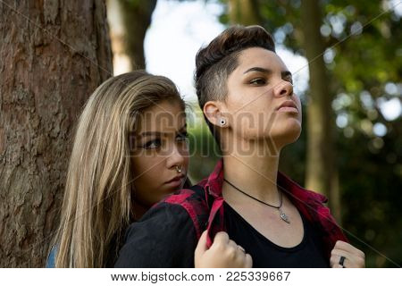 Two Friends/ Lesbian Couple Serious