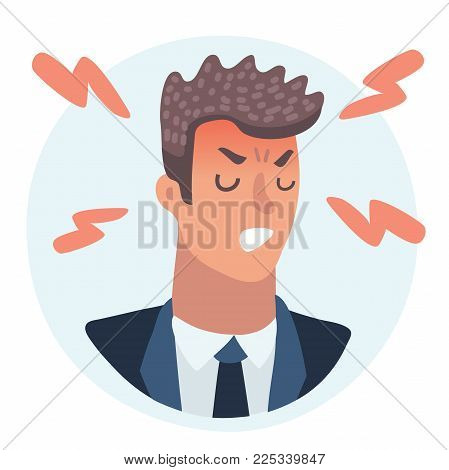 Vector cartoon illustration of Emotion avatar angry man in rage, lightnings of wrath around. Avatar, emotions face, feelings and emotional intelligence, expression, character man, stress, businessman.
