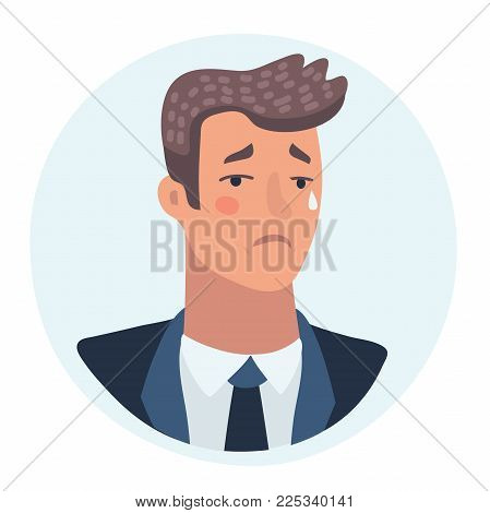 Vector cartoon illustration of sadly crying man face. Tears in his eye. Sad businessman avatar. Depression sadness characters.