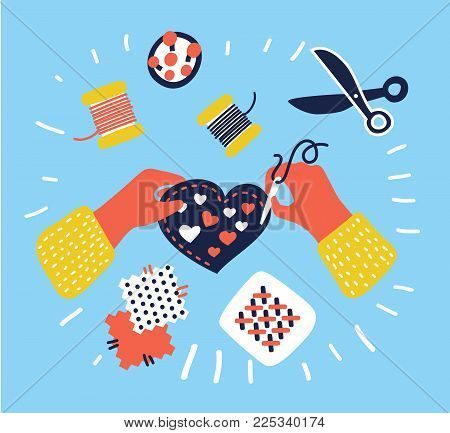 Cartoon vector illustration of Hobby and crafts banner, working , sewing, hands top view. Colorful graphic concept.
