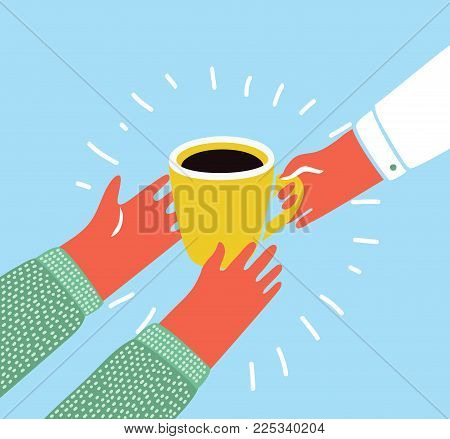 Vector cartoon colorful illustration of an isolated hand giving a cup of coffee to hand of another person. Pour over coffee. Modern funny graphic style object.