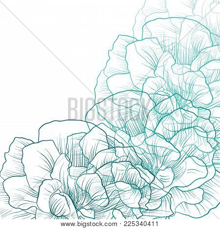 Blue flowers cover, floral color design, abstract nature background, hand drawn vector illustration