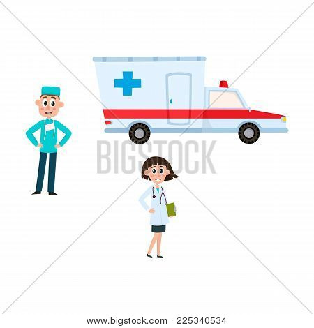 vector flat cartoon adult female doctor, head physician, holding clipboard stethoscope smiling, male surgeon in medical clothing, uniform, ambulance car set. Isolated illustration on white background