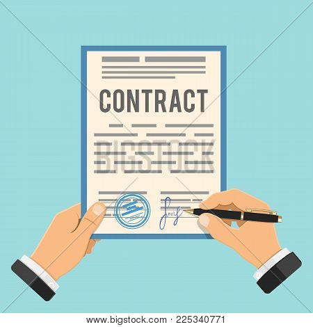 Businessman Signing contract. One hand holds contract, other hand signs business agreement contract with pen. Flat style icons. Isolated vector illustration