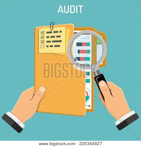 Auditing, Tax Process, Accounting Concept. Auditor Holds Folder and Magnifier in Hand and Checks Financial Report with Charts. Flat Style Icons. Isolated Vector Illustration.