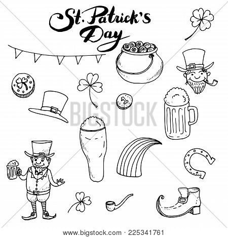 St Patricks day hand drawn vector doodle set