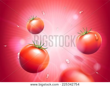 Juicy tomatoes with water drops on red radiant bokeh background. Strong sunbeam or light. Design elements for the ketchup or juice advertising. Food and drinks theme . Vector realistic 3d illustration