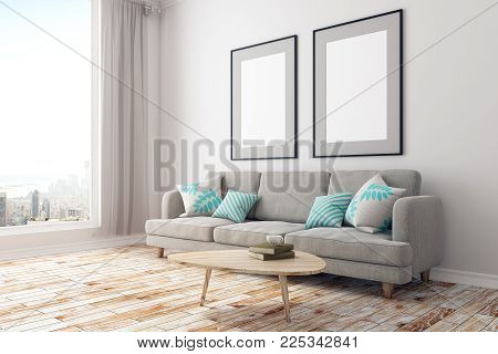 Side view of modern concrete living room interior with furniture, city view and blank poster on wall. Mock up, 3D Rendering