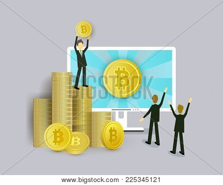 Bitcoin concept businessmen, computer and stacks of coins, vector illustration isolated on white background. Businessman standing on stack of coins with bitcoin in hands in front of computer screen