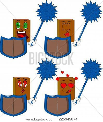 Books Holding A Spiked Mace And Shield. Cartoon Book Collection With Various Faces. Expressions Vect