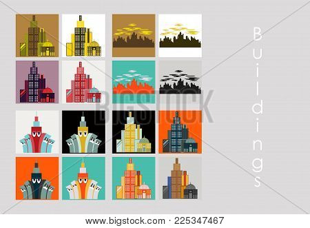 Set of Skyscrapers buildings isolated tower office city architecture house business apartment vector illustration