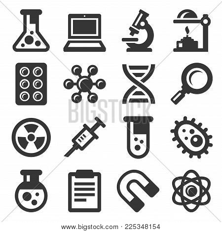 Science Icons Set on White Background. Vector illustration