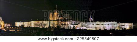 Panorama of the castle in Hradcany district, Prague, at night