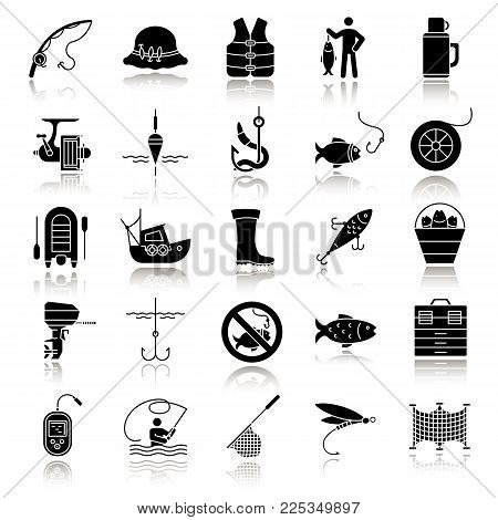 Fishing drop shadow black glyph icons set. Angling equipment. Fish, bait, hook, tackle, boat, rod, fisherman, thermos, echo sounder, uniform. Isolated vector illustrations