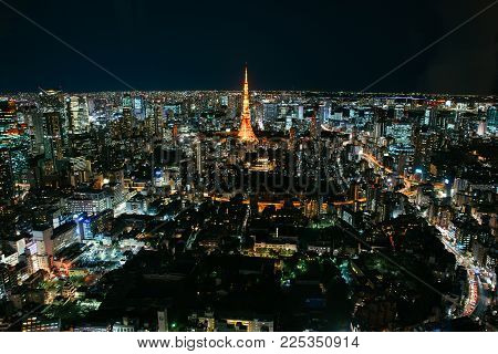 Tokyo Skyline And Buildings From Above, View Of The Tokyo Tower