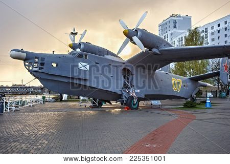 Kaliningrad, Russia - April 25, 2016: Anti-submarine Seaplane Be-12 On The Background Of A Sunset. T