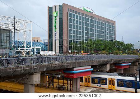 Amsterdam, Netherlands - June 25, 2017: Holiday Inn Express Hotel Building Near Amsterdam Sloterdijk