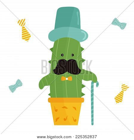 Vector illustration of cute mister cactus in top hat and cane