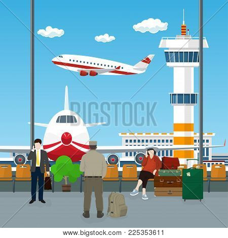 View on Airplanes and Control Tower , Waiting Room at the Airport with Passengers , People Waiting for Boarding a Plane, Travel Concept,  Illustration