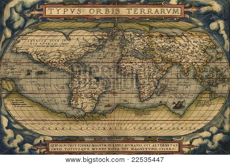 Antique Map Of The World,  Antique Map By Ortelius, Circa 1570