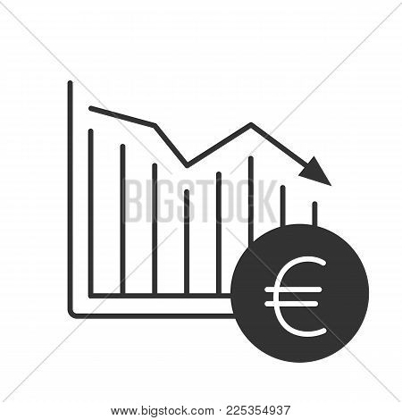 Euro falling glyph icon. Statistics diagram with European Union currency sign. Silhouette symbol. Financial collapse. Negative space. Vector isolated illustration