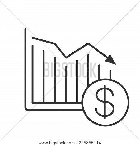 Dollar falling linear icon. Statistics diagram with usd sign. Thin line illustration. Financial collapse. Contour symbol. Vector isolated outline drawing