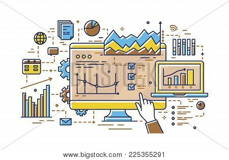 Finger pointing at computer screen with various diagrams, bar and pie charts, linear graphs. Concept of statistical data analysis, analytics and market research. Vector illustration in line art style