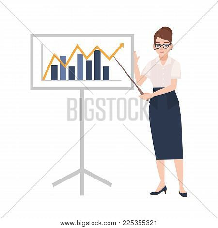 Woman dressed in business clothes holding pointer and standing beside whiteboard with bar chart and linear graph on it. Businesswoman making presentation. Colorful cartoon flat vector illustration