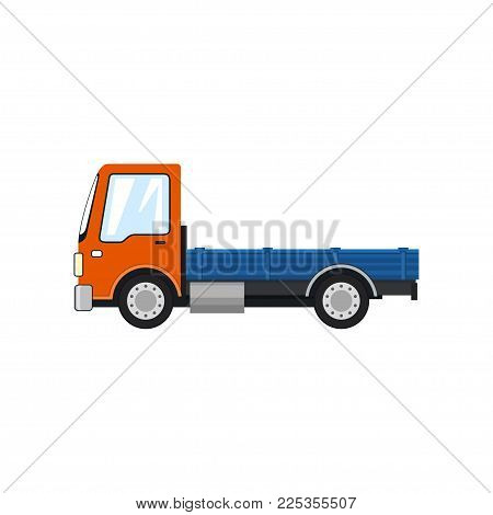 Orange Mini Lorry Without Load Isolated On White Background, Delivery Services, Logistics, Shipping