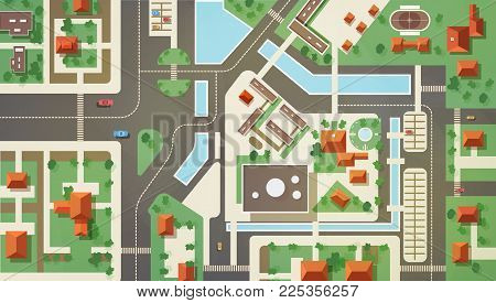 Top, aerial or bird s eye view or plan of modern city with commercial and living buildings, structures, roads, streets, river, canals and bridges. Beautiful urban landscape. Flat vector illustration