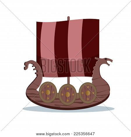 Viking cartoon character. Wooden Viking sail boat. Vector illustration. Flat style.