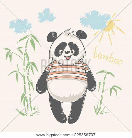 Panda bear vector illustration. Animal vector. print design panda, children print on t-shirt.