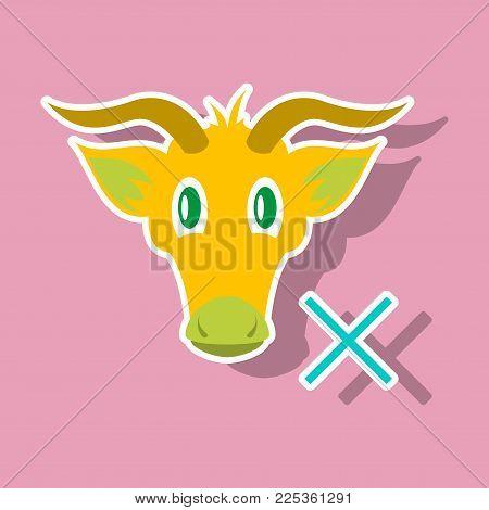 goat head. livestock. animal grazing. sticker pet