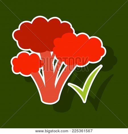 Broccoli. Sticker illustration. isolated on background. Fresh Vegetable. Vegetarian food