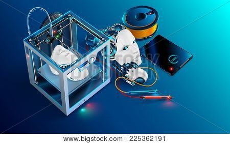 3d printing workshop. 3d printer printed Robot head. Robot parts manufacturing with additive technology. 3d printing equipment, plastic filament, and tools used in engineering and prototyping industry