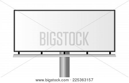 Blank city rectangular billboard. Billboard isolated on white background. Mockup for advertising banners or design. Vector illustration