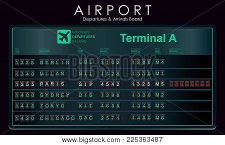 Flights scoreboard mockup departures and arrivals. Airport board with destination information, cities, schedule. Vector illustration