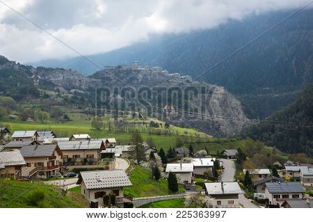 Panoramic View Of Avrieux And Alps, The Highest And Most Extensive Mountain Range System That Lies E